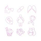 Собрание значков осведомленности рака молочной железы Стоковые Изображения
