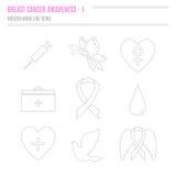 Собрание значков осведомленности рака молочной железы Стоковые Фото