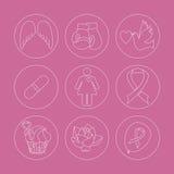 Собрание значков осведомленности рака молочной железы Стоковые Фотографии RF