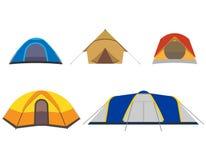 Собрание значков располагаясь лагерем шатра изолированных на белой предпосылке также вектор иллюстрации притяжки corel иллюстрация штока