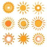 Собрание значков Солнця Стоковое Изображение RF
