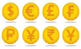 Собрание значков с символами валюты также вектор иллюстрации притяжки corel бесплатная иллюстрация