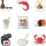 Собрание значков цвета морепродуктов плоское Стоковая Фотография