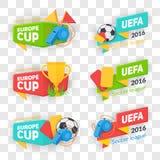 Собрание значков чашки футбола Стоковое Изображение