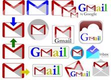 Собрание значков Gmail иллюстрация штока