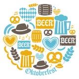 Собрание значков Oktoberfest Стоковые Изображения RF