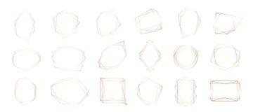 Собрание золота геометрической рамки Декоративный элемент для логотипа, клеймя, карточка, приглашение иллюстрация штока