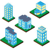 Собрание зданий и домов в равновеликой проекции Стоковое Изображение