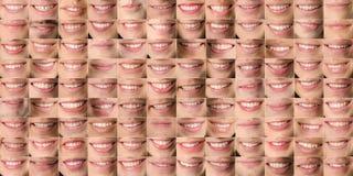 Собрание изображений человеческих ртов людей и женщин формируя текстуру стоковое изображение