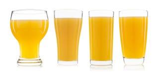 Собрание изолированного стекла апельсинового сока Стоковые Фотографии RF