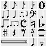 Иконы примечания нот вектора установленные на серый цвет Стоковые Фото