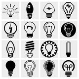 Комплект иконы вектора электрической лампочки. Стоковые Фотографии RF