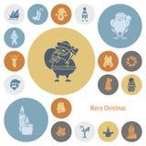 Собрание икон рождества и зимы Стоковые Изображения