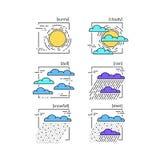 Собрание линии погоды значков вектора Стоковая Фотография