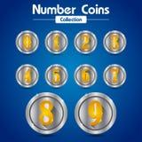 Собрание и золотое число серебряных монет номера стоковые изображения
