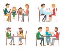 Собрание иллюстрации вектора на теме людей в кафе Стоковая Фотография RF