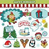 Собрание иллюстрации праздника рождества мастерской Santa's бесплатная иллюстрация