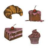 Собрание иллюстраций тортов, круассанов Стоковые Фото