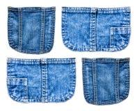 собрание карманн голубых джинсов джинсовой ткани изолированного на белом backgrou Стоковое Фото