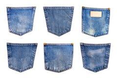 собрание карманн голубых джинсов джинсовой ткани изолированного на белом backgrou Стоковые Изображения