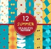 Собрание картины 12 лет безшовное Комплект лета безшовный Стоковые Фотографии RF