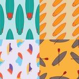 Собрание 4 картин цвета безшовных занимаясь серфингом Стоковое фото RF