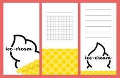 Собрание карточек мороженого лета Стоковые Фотографии RF