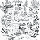 Собрание каллиграфических элементов и эффектных демонстраций для дизайна иллюстрация вектора