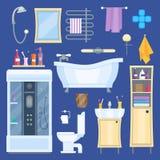 Собрание комплекта элементов ванной комнаты Стоковое Изображение RF
