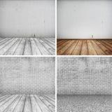 Собрание конкретных кирпичных стен и деревянного пола для текста и предпосылки Стоковое Фото