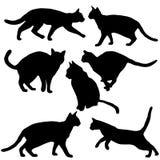 Собрание котов - силуэт вектора Стоковые Изображения RF