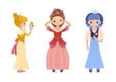 Собрание 3 красивых принцесс в различных представлениях Стоковая Фотография RF