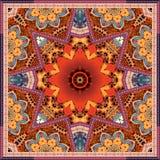 Собрание красного тюльпана красивое Ковер или печать bandana в этническо иллюстрация вектора