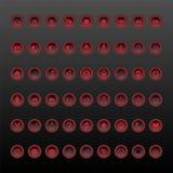 Собрание красной и черной кнопки установленное иллюстрация вектора