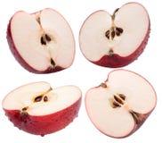 Собрание красных кусков яблока изолированных на белой предпосылке Стоковая Фотография RF