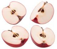 Собрание красных кусков яблока изолированных на белой предпосылке Стоковая Фотография