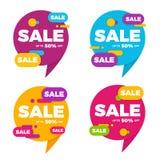 Собрание красочной продажи пузыря речи конструирует цену знамен Стоковое фото RF