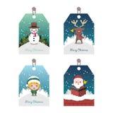 Собрание 4 красочных бирок рождества бесплатная иллюстрация