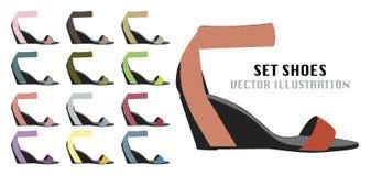 Собрание красочных ботинок моды Стоковые Изображения
