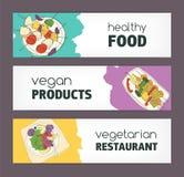 Собрание красочных горизонтальных шаблонов знамени при vegan нарисованный рукой и вегетарианские блюда лежа на плитах Здорово бесплатная иллюстрация