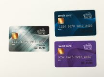 Собрание красочных изолированных кредитных карточек Стоковая Фотография