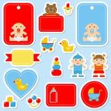 Собрание красочных стикеров ` s младенца бесплатная иллюстрация