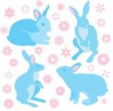 Собрание кроликов зайчика и цветков весны vector иллюстрация Стоковая Фотография