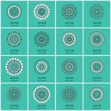 Собрание 16 круглых орнаментов Стоковое фото RF