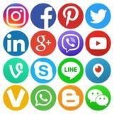 Собрание круглых популярных социальных логотипов средств массовой информации иллюстрация вектора