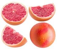 Собрание кусков грейпфрута изолированных на белой предпосылке Стоковые Фотографии RF