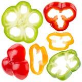Собрание кусков красного, желтого, зеленого перца Стоковое Изображение