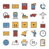 Собрание линии значков вектора доставки стоковые изображения