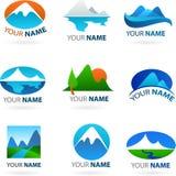 Собрание логосов ландшафтов иллюстрация штока
