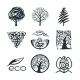 Собрание логотипа дерева Стоковые Изображения